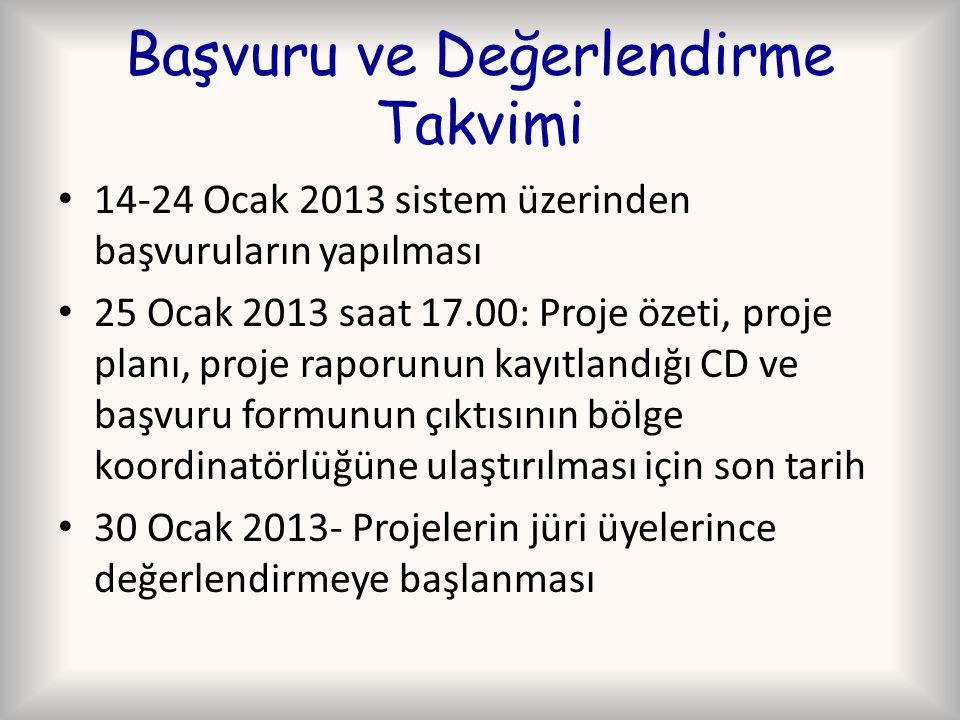 Başvuru ve Değerlendirme Takvimi 14-24 Ocak 2013 sistem üzerinden başvuruların yapılması 25 Ocak 2013 saat 17.00: Proje özeti, proje planı, proje raporunun kayıtlandığı CD ve başvuru formunun çıktısının bölge koordinatörlüğüne ulaştırılması için son tarih 30 Ocak 2013- Projelerin jüri üyelerince değerlendirmeye başlanması