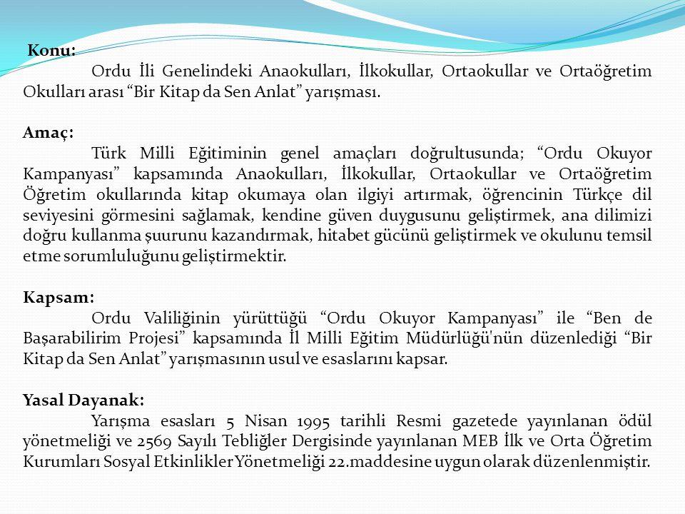 """Konu: Ordu İli Genelindeki Anaokulları, İlkokullar, Ortaokullar ve Ortaöğretim Okulları arası """"Bir Kitap da Sen Anlat"""" yarışması. Amaç: Türk Milli Eği"""