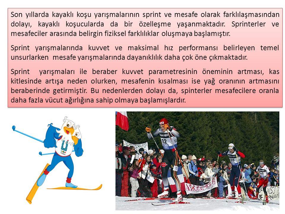 Son yıllarda kayaklı koşu yarışmalarının sprint ve mesafe olarak farklılaşmasından dolayı, kayaklı koşucularda da bir özelleşme yaşanmaktadır. Sprinte