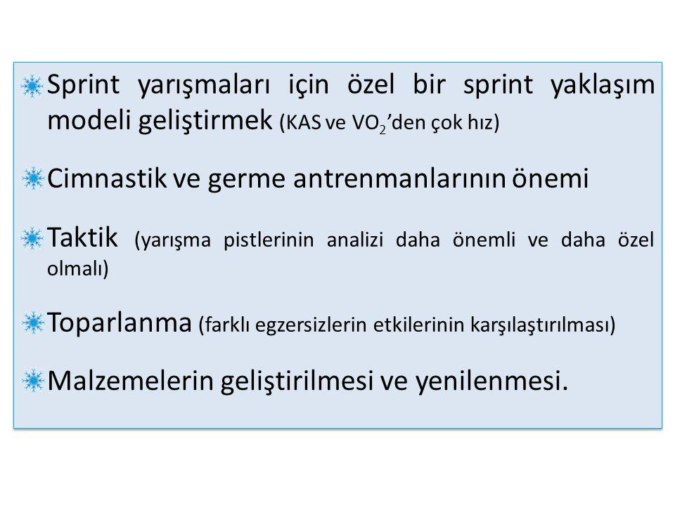 Sprint yarışmaları için özel bir sprint yaklaşım modeli geliştirmek (KAS ve VO 2 'den çok hız) Cimnastik ve germe antrenmanlarının önemi Taktik (yarış