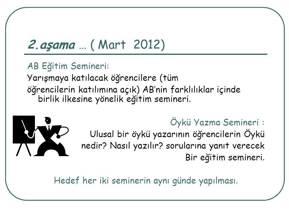 2.aşama … ( Mart 2012) AB Eğitim Semineri: Yarışmaya katılacak öğrencilere (tüm öğrencilerin katılımına açık) AB'nin farklılıklar içinde birlik ilkesi