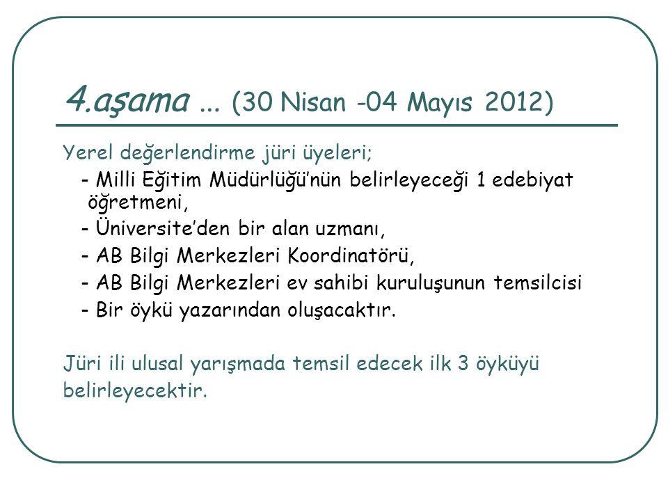 4.aşama … (30 Nisan -04 Mayıs 2012) Yerel değerlendirme jüri üyeleri; - Milli Eğitim Müdürlüğü'nün belirleyeceği 1 edebiyat öğretmeni, - Üniversite'de