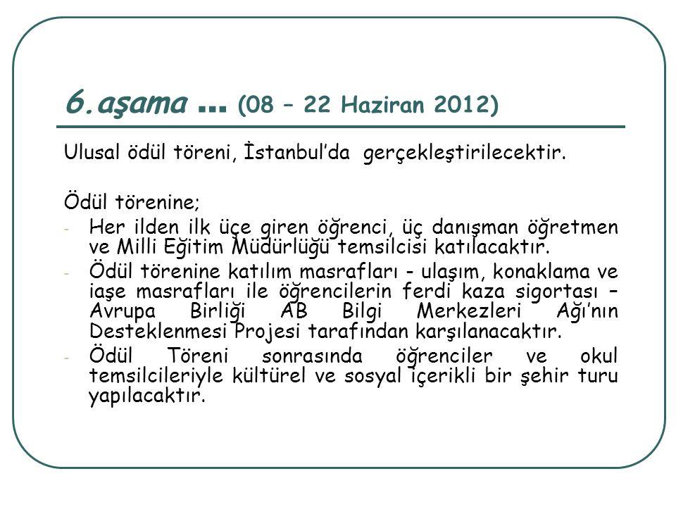 6.aşama … (08 – 22 Haziran 2012) Ulusal ödül töreni, İstanbul'da gerçekleştirilecektir. Ödül törenine; - Her ilden ilk üçe giren öğrenci, üç danışman