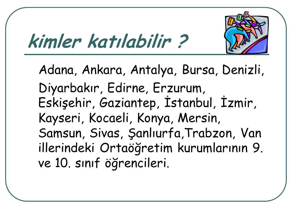 kimler katılabilir ? Adana, Ankara, Antalya, Bursa, Denizli, Diyarbakır, Edirne, Erzurum, Eskişehir, Gaziantep, İstanbul, İzmir, Kayseri, Kocaeli, Kon