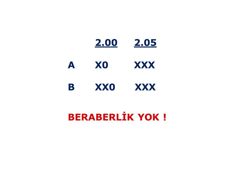 2.00 2.05 A X0 XXX B XX0 XXX BERABERLİK YOK !