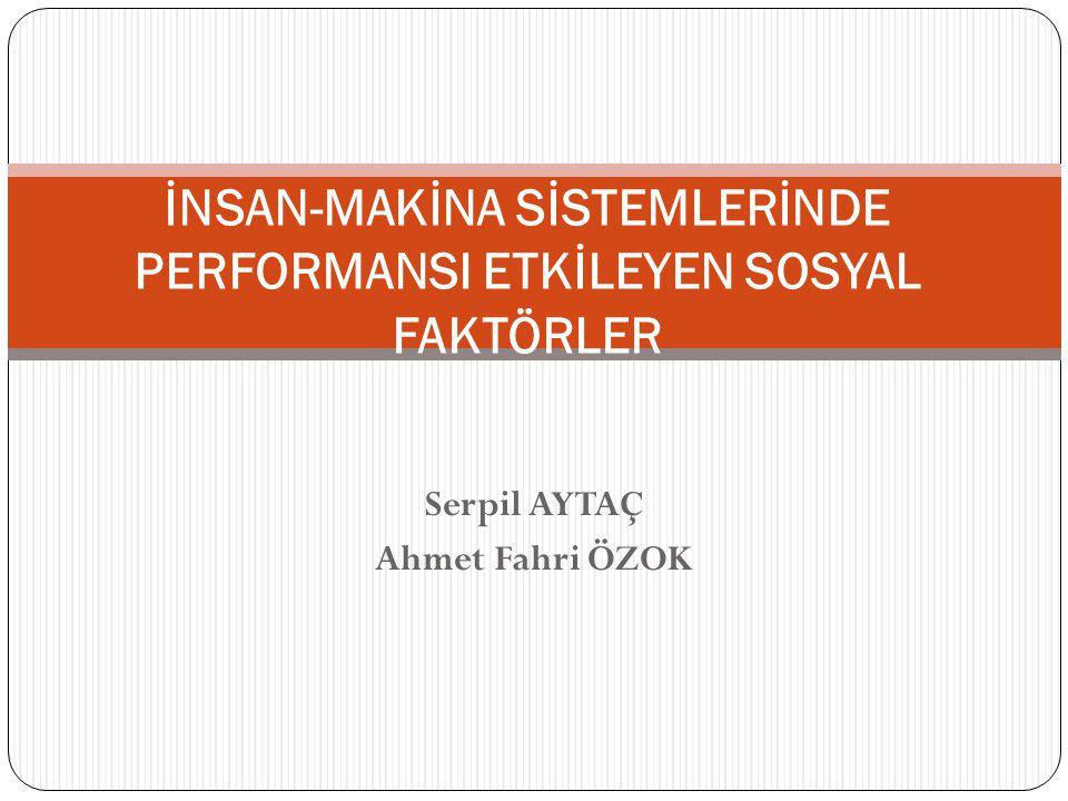 Serpil AYTAÇ Ahmet Fahri ÖZOK İNSAN-MAKİNA SİSTEMLERİNDE PERFORMANSI ETKİLEYEN SOSYAL FAKTÖRLER