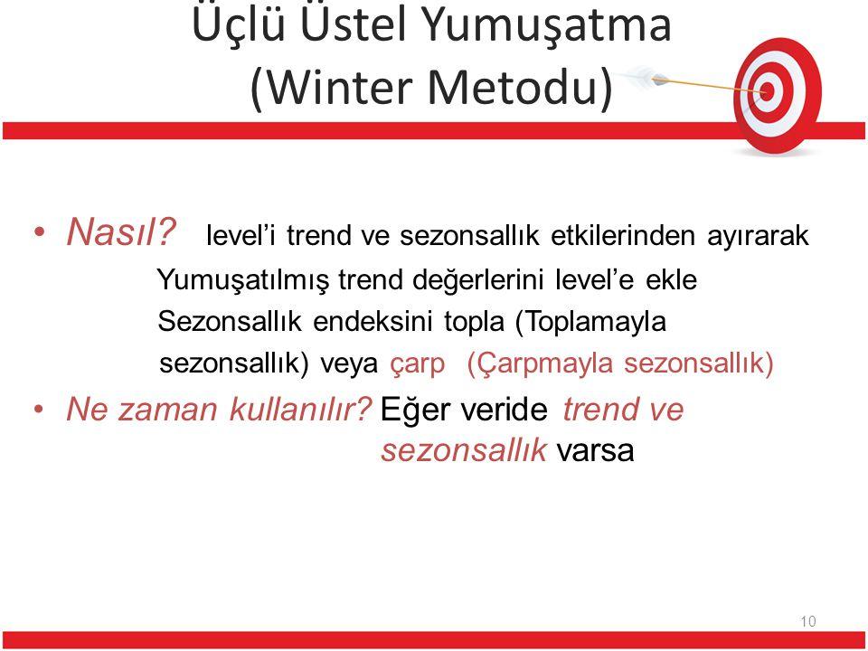 Üçlü Üstel Yumuşatma (Winter Metodu) Nasıl? level'i trend ve sezonsallık etkilerinden ayırarak Yumuşatılmış trend değerlerini level'e ekle Sezonsallık