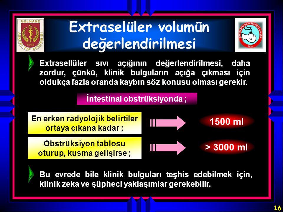 16 Extraselüler volumün değerlendirilmesi Extrasellüler sıvı açığının değerlendirilmesi, daha zordur, çünkü, klinik bulguların açığa çıkması için oldu