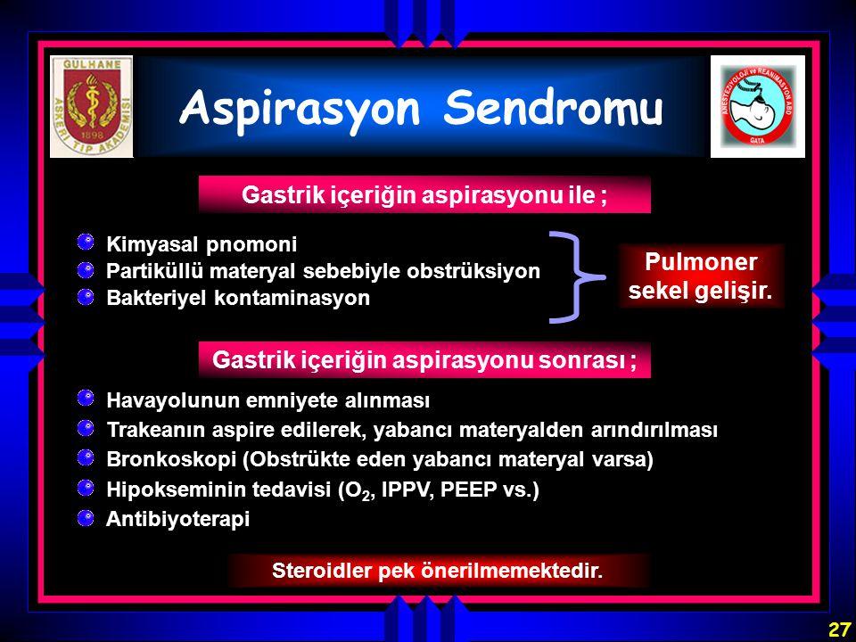 27 Aspirasyon Sendromu Gastrik içeriğin aspirasyonu ile ; Pulmoner sekel gelişir. Gastrik içeriğin aspirasyonu sonrası ; Steroidler pek önerilmemekted