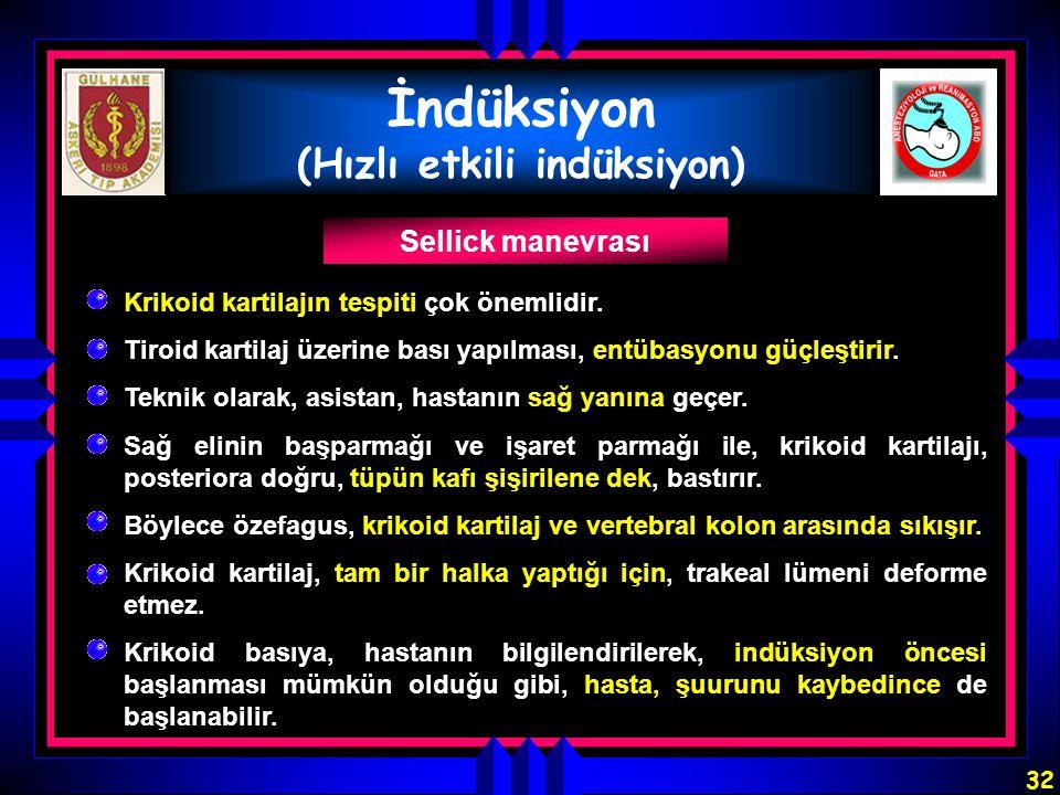 32 İndüksiyon (Hızlı etkili indüksiyon) Sellick manevrası Krikoid kartilajın tespiti çok önemlidir. Krikoid kartilaj, tam bir halka yaptığı için, trak