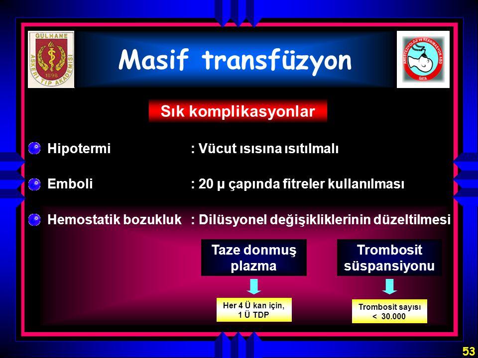 53 Masif transfüzyon Sık komplikasyonlar Hipotermi: Vücut ısısına ısıtılmalı Emboli: 20 µ çapında fitreler kullanılması Hemostatik bozukluk:Dilüsyonel