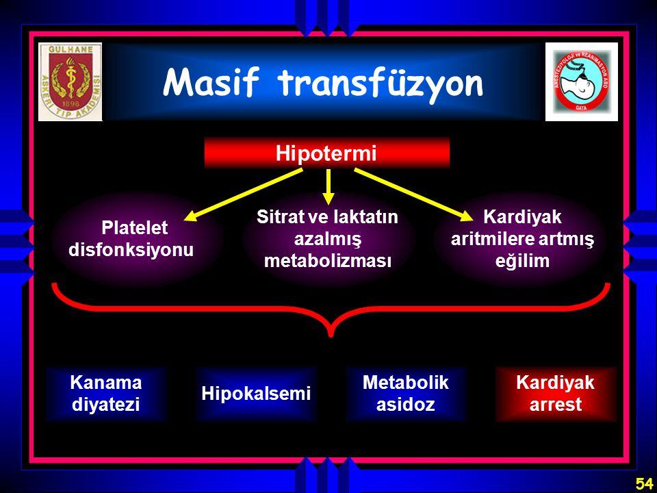 54 Masif transfüzyon Hipotermi Platelet disfonksiyonu Sitrat ve laktatın azalmış metabolizması Kardiyak aritmilere artmış eğilim Kanama diyatezi Hipok