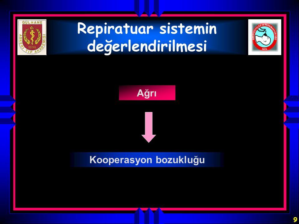 9 Repiratuar sistemin değerlendirilmesi Ağrı Kooperasyon bozukluğu