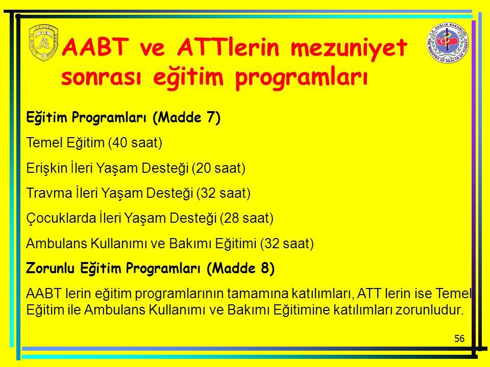 56 AABT ve ATTlerin mezuniyet sonrası eğitim programları Eğitim Programları (Madde 7) Temel Eğitim (40 saat) Erişkin İleri Yaşam Desteği (20 saat) Tra