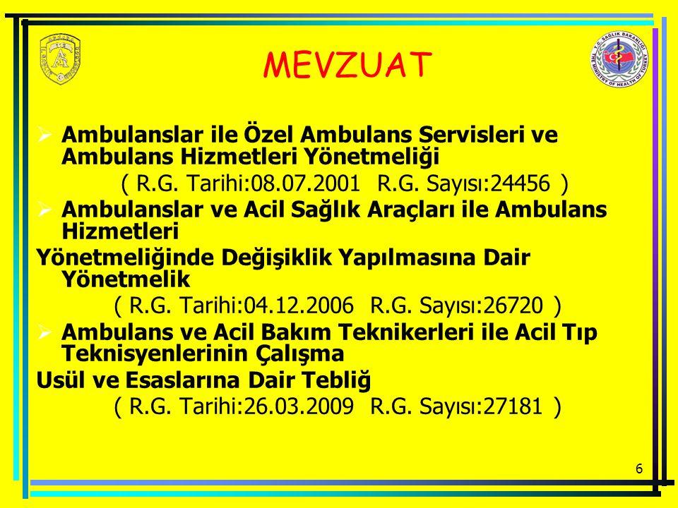 6 MEVZUAT  Ambulanslar ile Özel Ambulans Servisleri ve Ambulans Hizmetleri Yönetmeliği ( R.G. Tarihi:08.07.2001 R.G. Sayısı:24456 )  Ambulanslar ve