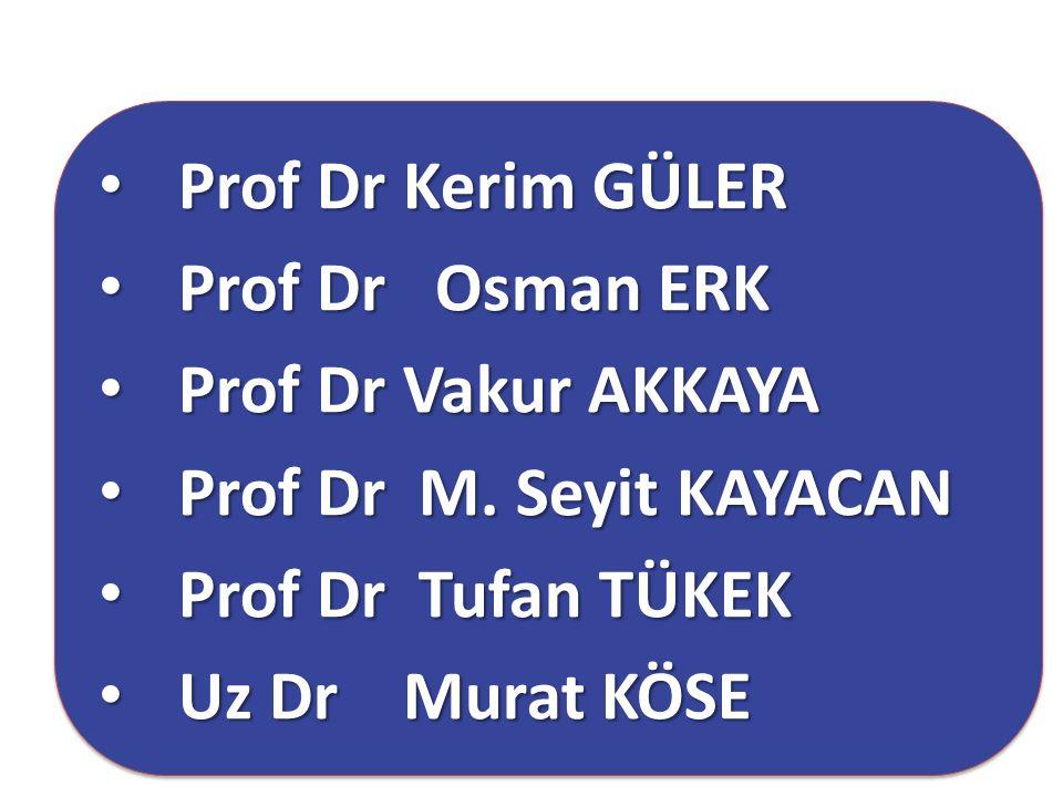 Prof Dr Kerim GÜLER Prof Dr Kerim GÜLER Prof Dr Osman ERK Prof Dr Osman ERK Prof Dr Vakur AKKAYA Prof Dr Vakur AKKAYA Prof Dr M. Seyit KAYACAN Prof Dr