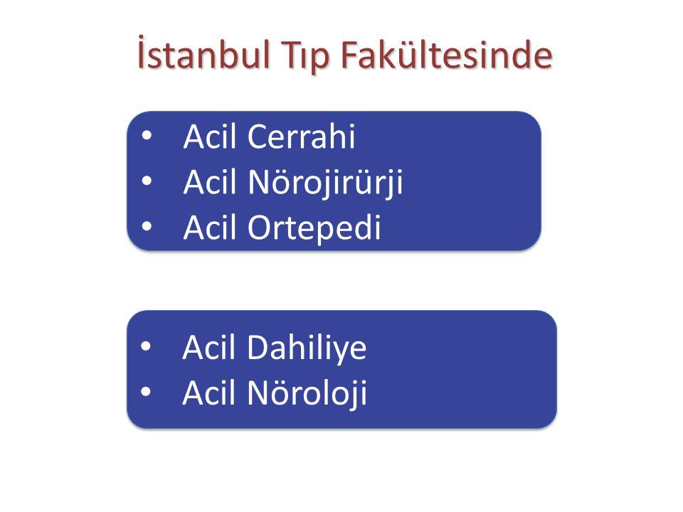 İstanbul Tıp Fakültesinde Acil Cerrahi Acil Nörojirürji Acil Ortepedi Acil Cerrahi Acil Nörojirürji Acil Ortepedi Acil Dahiliye Acil Nöroloji Acil Dah