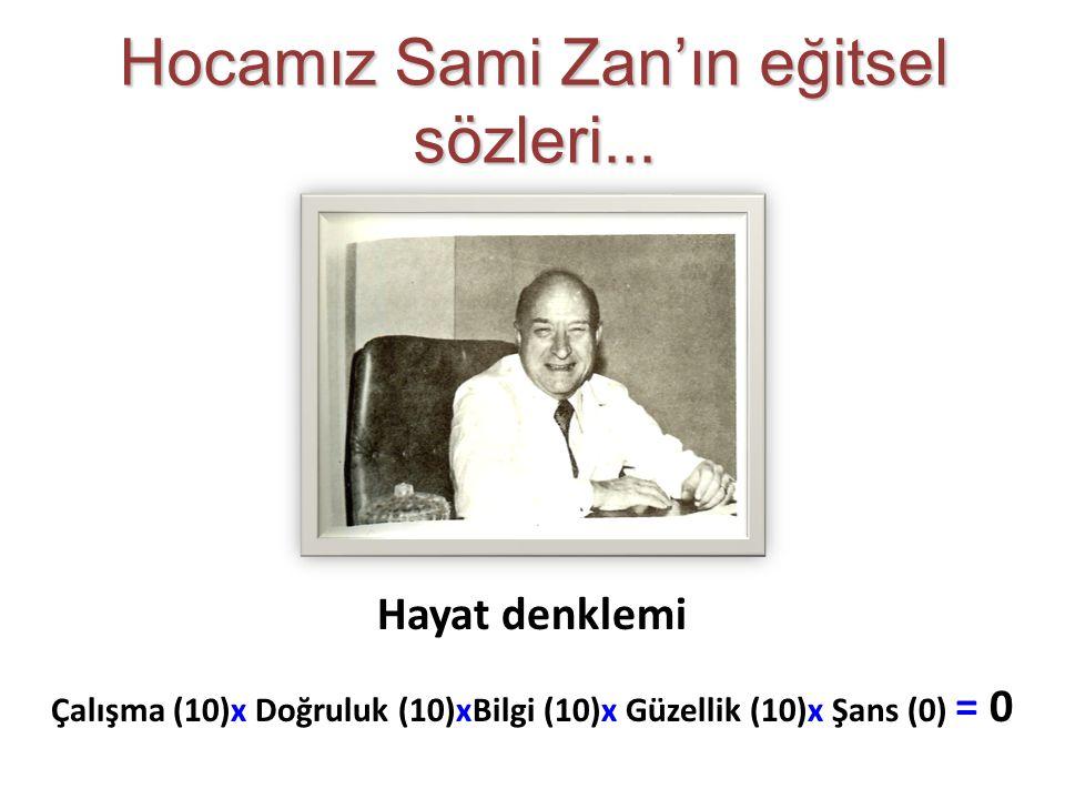 Hayat denklemi Çalışma (10)x Doğruluk (10)xBilgi (10)x Güzellik (10)x Şans (0) = 0 Hocamız Sami Zan'ın eğitsel sözleri...