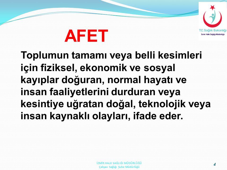AFET Toplumun tamamı veya belli kesimleri için fiziksel, ekonomik ve sosyal kayıplar doğuran, normal hayatı ve insan faaliyetlerini durduran veya kesi