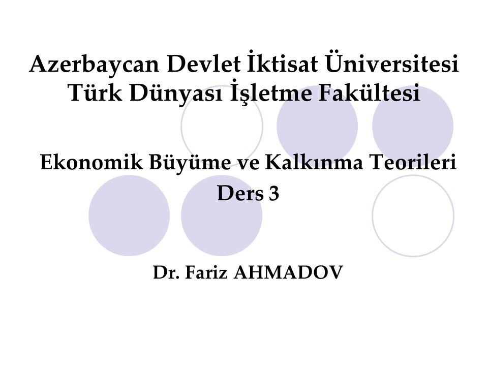 Azerbaycan Devlet İktisat Üniversitesi Türk Dünyası İşletme Fakültesi Ekonomik Büyüme ve Kalkınma Teorileri Ders 3 Dr. Fariz AHMADOV