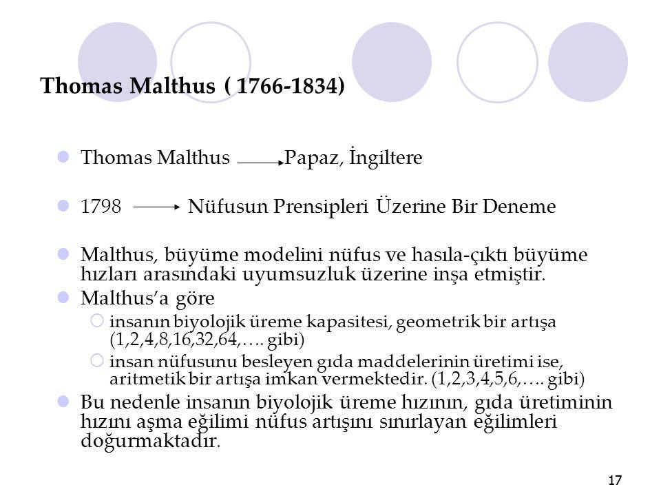17 Thomas Malthus ( 1766-1834) Thomas Malthus Papaz, İngiltere 1798 Nüfusun Prensipleri Üzerine Bir Deneme Malthus, büyüme modelini nüfus ve hasıla-çı