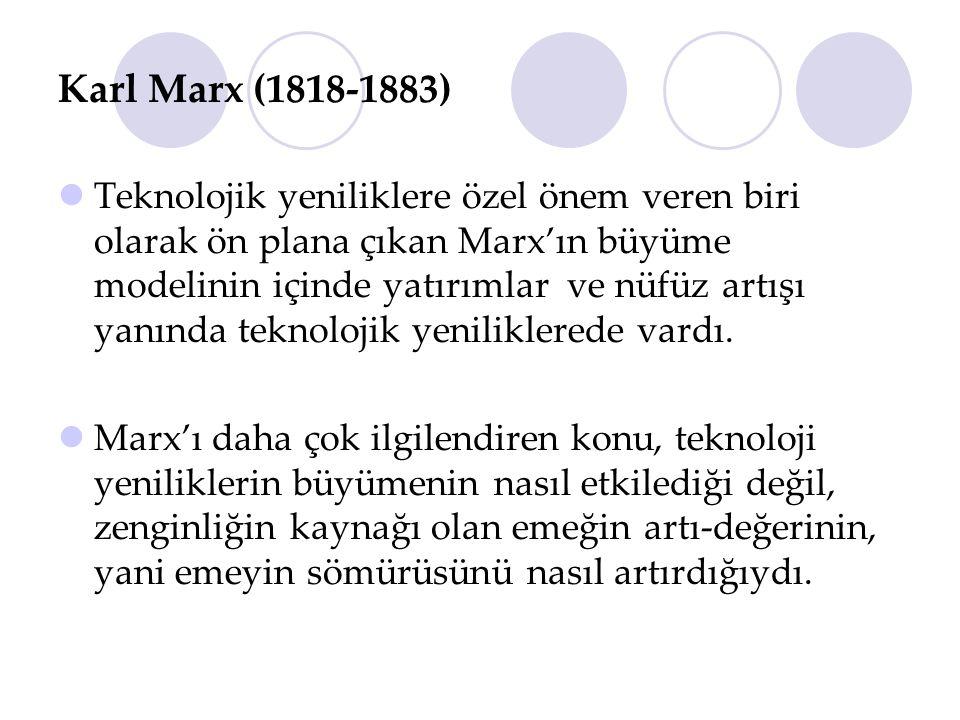 Karl Marx (1818-1883) Teknolojik yeniliklere özel önem veren biri olarak ön plana çıkan Marx'ın büyüme modelinin içinde yatırımlar ve nüfüz artışı yan