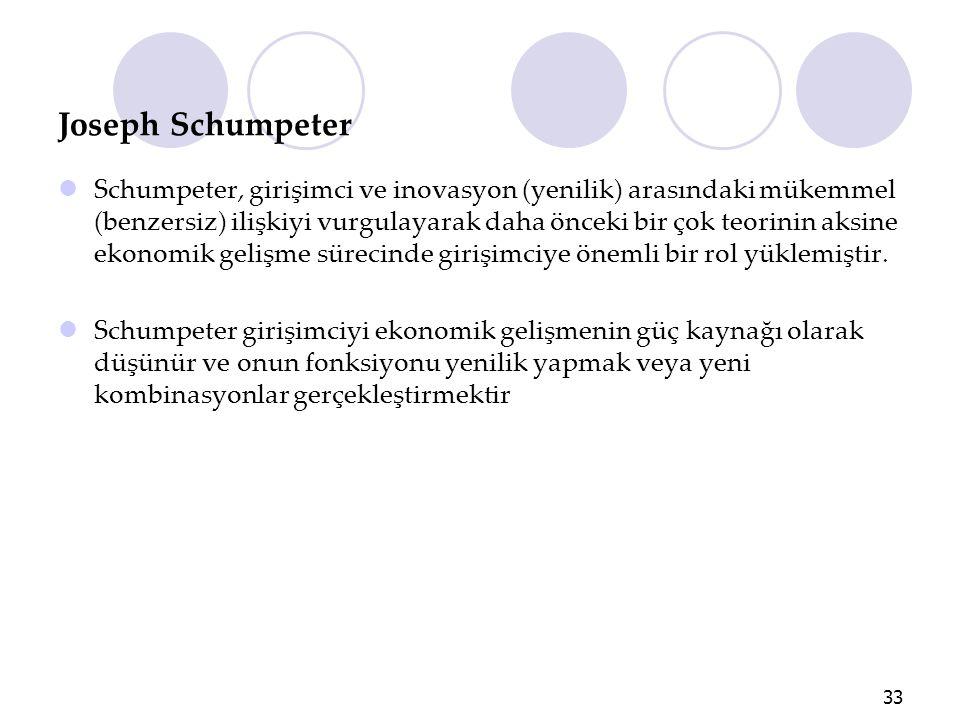 Joseph Schumpeter Schumpeter, girişimci ve inovasyon (yenilik) arasındaki mükemmel (benzersiz) ilişkiyi vurgulayarak daha önceki bir çok teorinin aksi
