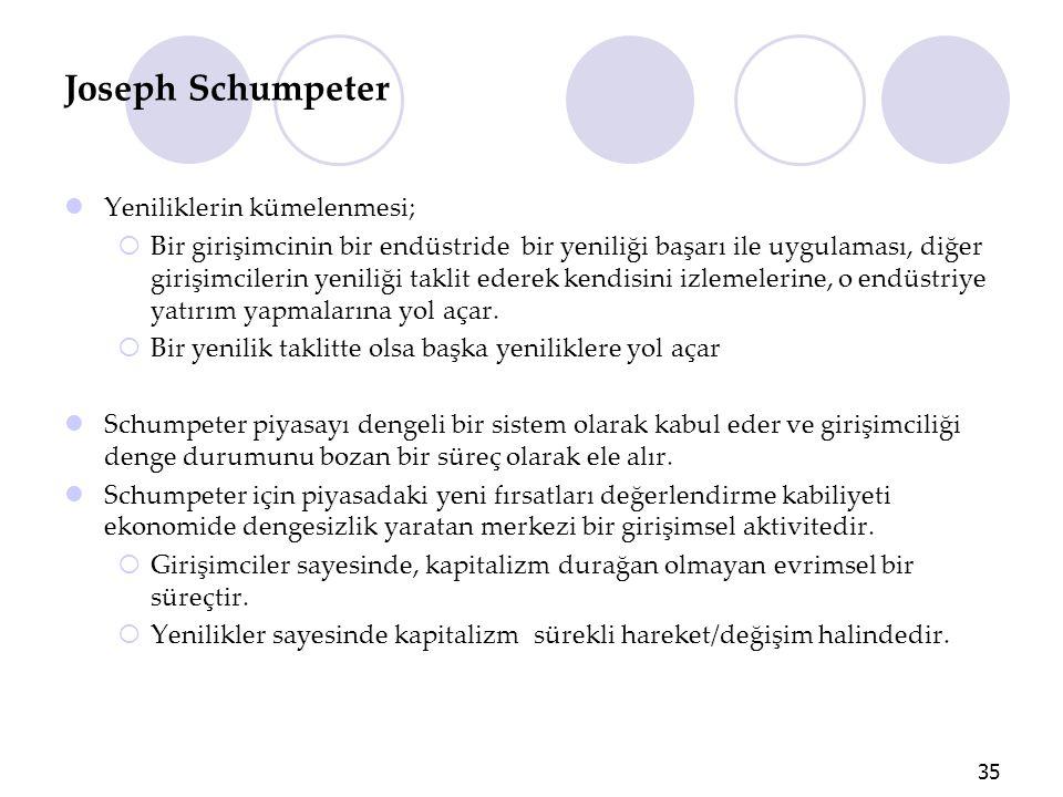 Joseph Schumpeter Yeniliklerin kümelenmesi;  Bir girişimcinin bir endüstride bir yeniliği başarı ile uygulaması, diğer girişimcilerin yeniliği taklit