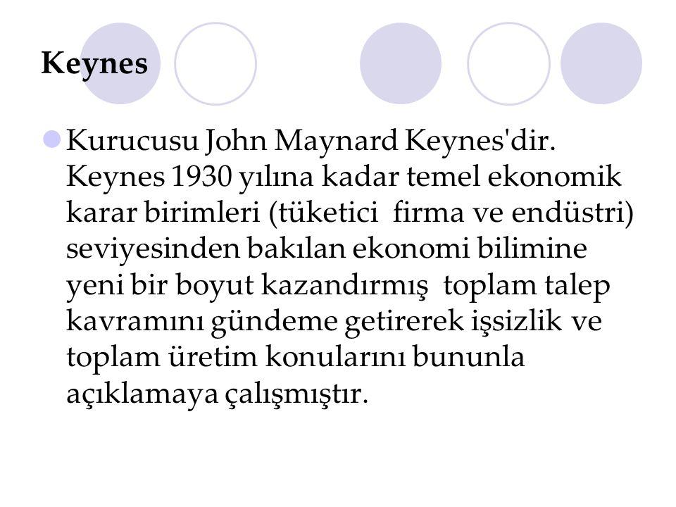 Keynes Kurucusu John Maynard Keynes'dir. Keynes 1930 yılına kadar temel ekonomik karar birimleri (tüketici firma ve endüstri) seviyesinden bakılan eko