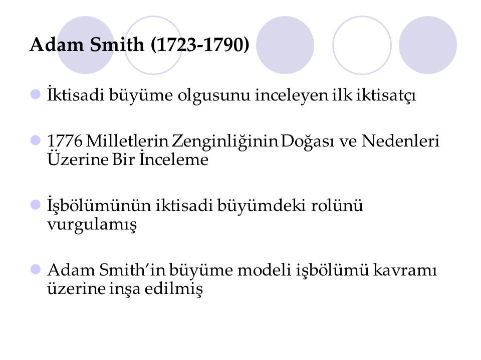 Adam Smith (1723-1790) İktisadi büyüme olgusunu inceleyen ilk iktisatçı 1776 Milletlerin Zenginliğinin Doğası ve Nedenleri Üzerine Bir İnceleme İşbölü