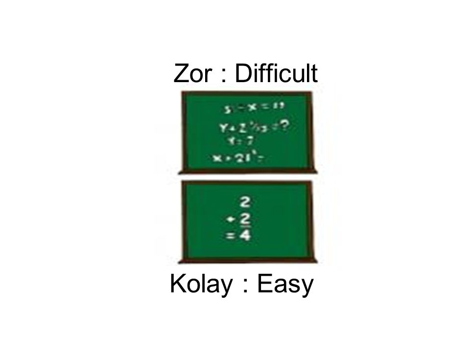 Zor : Difficult Kolay : Easy