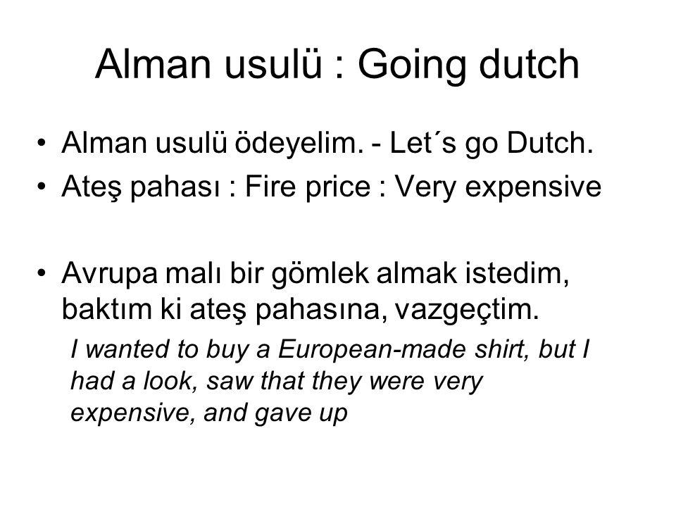Alman usulü : Going dutch Alman usulü ödeyelim. - Let´s go Dutch. Ateş pahası : Fire price : Very expensive Avrupa malı bir gömlek almak istedim, bakt