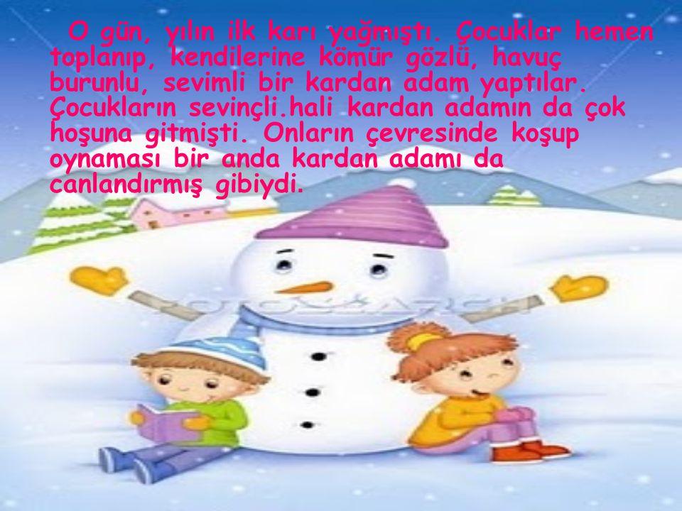 O gün, yılın ilk karı yağmıştı. Çocuklar hemen toplanıp, kendilerine kömür gözlü, havuç burunlu, sevimli bir kardan adam yaptılar. Çocukların sevinçli