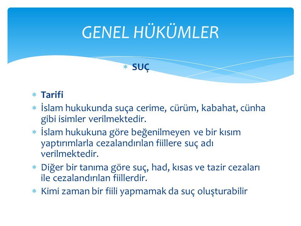  Tarifi  İslam hukukunda suça cerime, cürüm, kabahat, cünha gibi isimler verilmektedir.