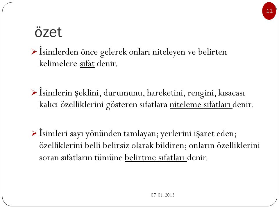 Belirtme sıfatları alt başlıkları 07.01.2013 10 a.