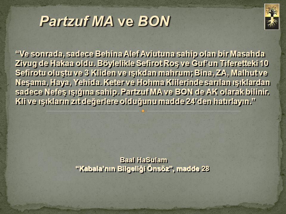 """Partzuf MA ve BON """"Ve sonrada, sadece Behina Alef Aviutuna sahip olan bir Masahda Zivug de Hakaa oldu. Böylelikle Sefirot Roş ve Guf'un Tiferetteki 10"""