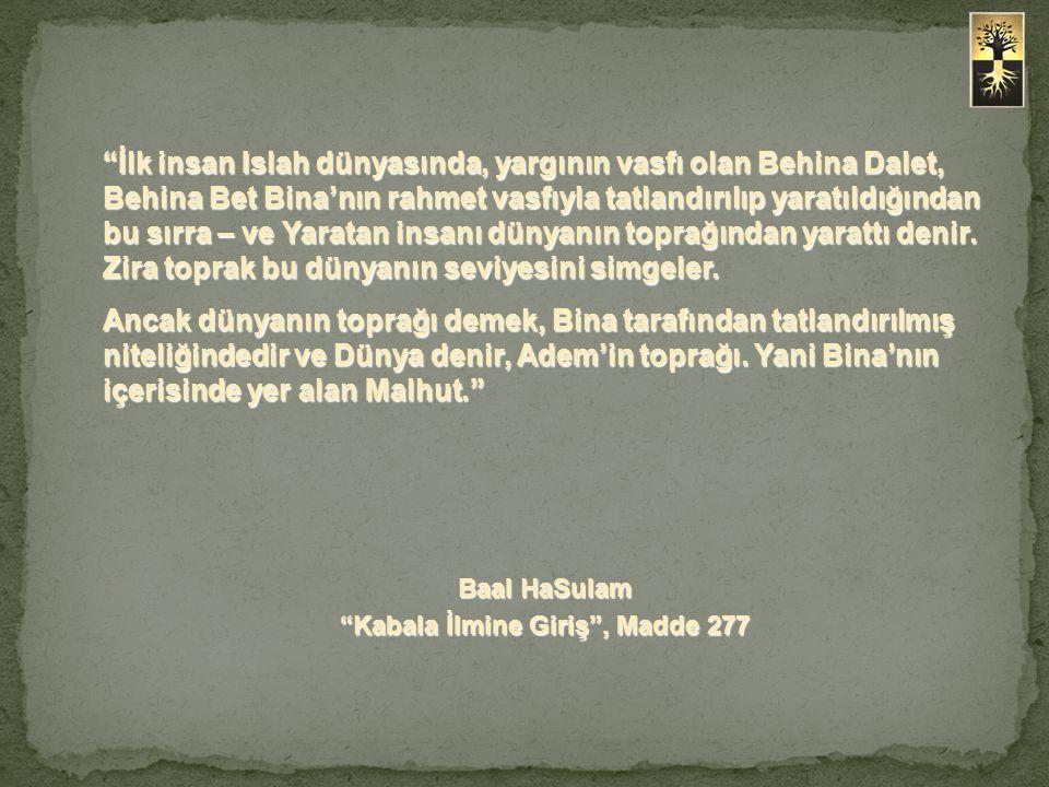 İlk insan Islah dünyasında, yargının vasfı olan Behina Dalet, Behina Bet Bina'nın rahmet vasfıyla tatlandırılıp yaratıldığından bu sırra – ve Yaratan insanı dünyanın toprağından yarattı denir.
