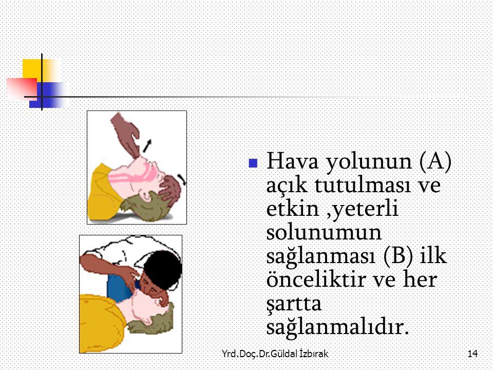 Yrd.Doç.Dr.Güldal İzbırak14 Hava yolunun (A) açık tutulması ve etkin,yeterli solunumun sağlanması (B) ilk önceliktir ve her şartta sağlanmalıdır.
