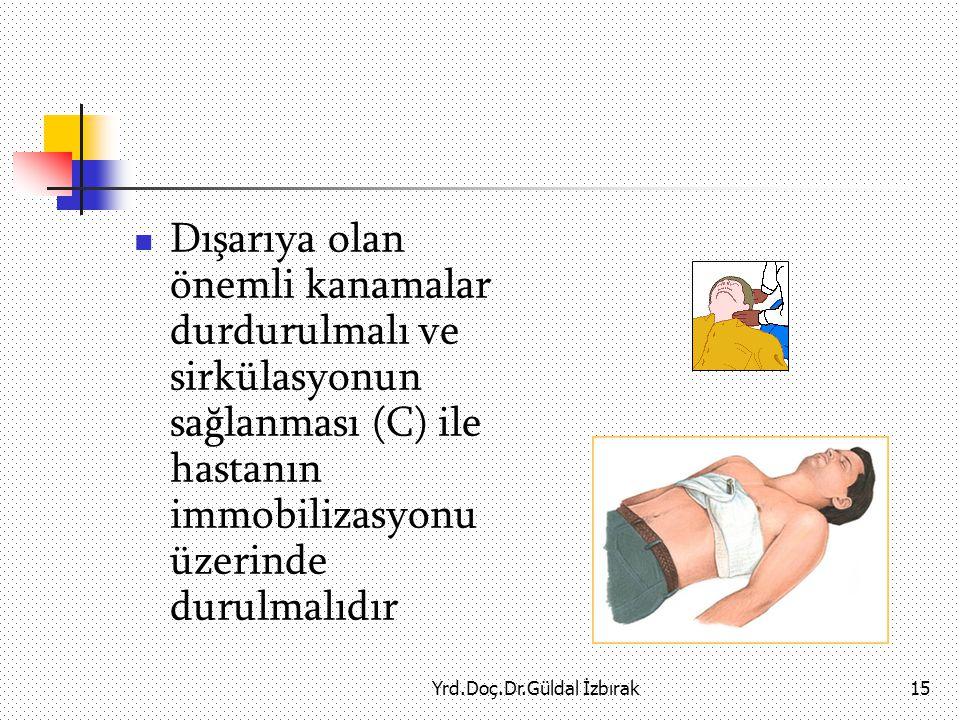 Yrd.Doç.Dr.Güldal İzbırak15 Dışarıya olan önemli kanamalar durdurulmalı ve sirkülasyonun sağlanması (C) ile hastanın immobilizasyonu üzerinde durulmalıdır