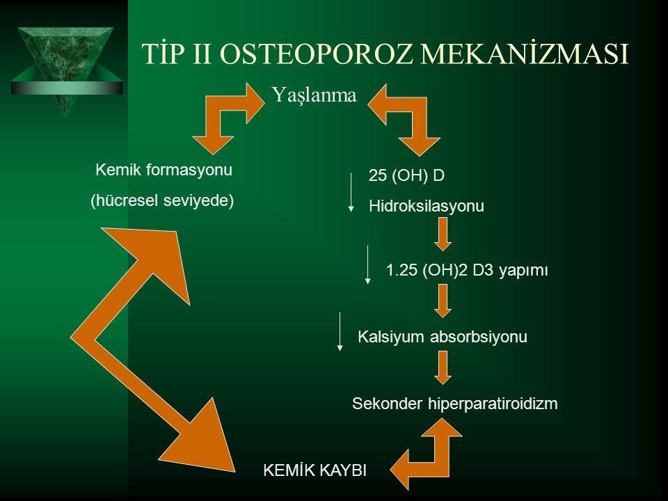 PRİMER OSTEOPOROZ PATOFİZYOLOJİ Trabeküler kemikte reabsorbsiyon artışı Osteoklastların PTH'ya yanıtının artması Trabeküler kemikte reabsorbsiyonda azalma PTH sekrasyonlarında azalma D vitaminin hepatik metobolitinin 25-OH kolekalsiferol ve kalsitriolün böbrekte aktivasyonunda azalma Barsaklarda Ca emiliminde azalma