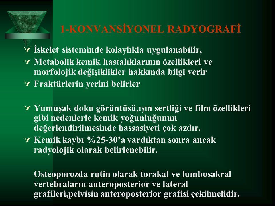 OSTEOPOROZDA GÖRÜNTÜLEME YÖNTEMLERİ  Konvansiyonel Radyografi  Fotodansitometri=Radyografik Absorbsiyometri (RA)  Kompüterize Dijital Absorbsiyomet