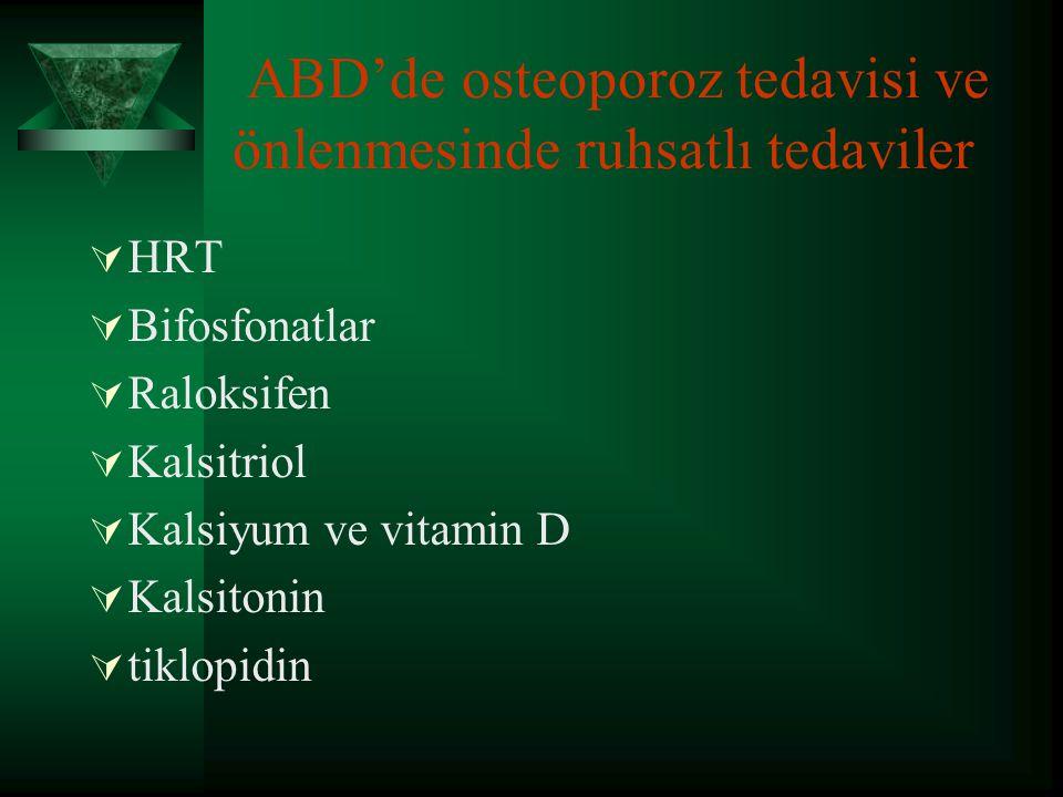 Medikal tedavi-2  A-Kemik yıkımını baskılayan ajanlar  HRT, Östrojen deriveleri ve resöptör antogonisti,Ca,Bifosfanatlar,Kalsitonin  B-Kemik yapımını uyaran ajanlar  Na florid,PTH,Anabolik steroidler,D vitamini ve Aktif metobolitleri,Soya ve K2,B12, ve B6 vitamini