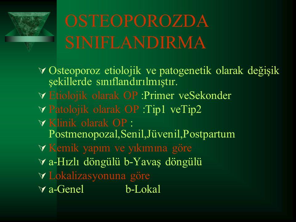 Osteoporoz Epidemiyolojisi  Osteoporozun en sık rastlanan formu,primer involusyenel osteoporozdur.  Osteoporoz prevalansı  50-59 yaş arası kadınlar