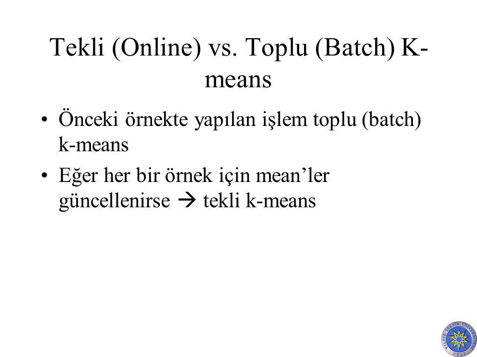 Tekli (Online) vs. Toplu (Batch) K- means Önceki örnekte yapılan işlem toplu (batch) k-means Eğer her bir örnek için mean'ler güncellenirse  tekli k-