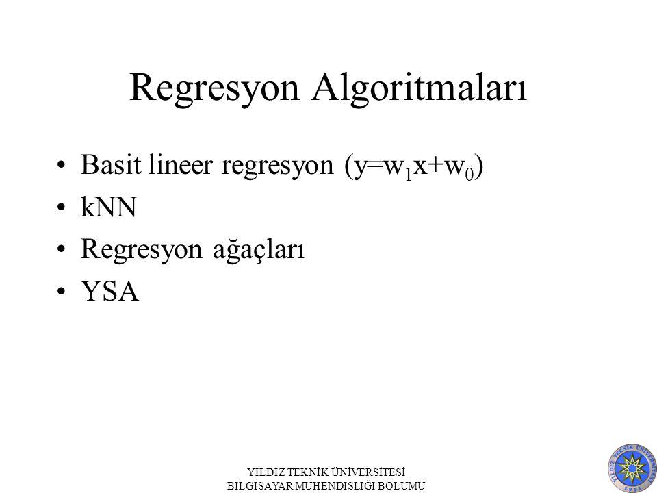 Regresyon Algoritmaları Basit lineer regresyon (y=w 1 x+w 0 ) kNN Regresyon ağaçları YSA YILDIZ TEKNİK ÜNİVERSİTESİ BİLGİSAYAR MÜHENDİSLİĞİ BÖLÜMÜ