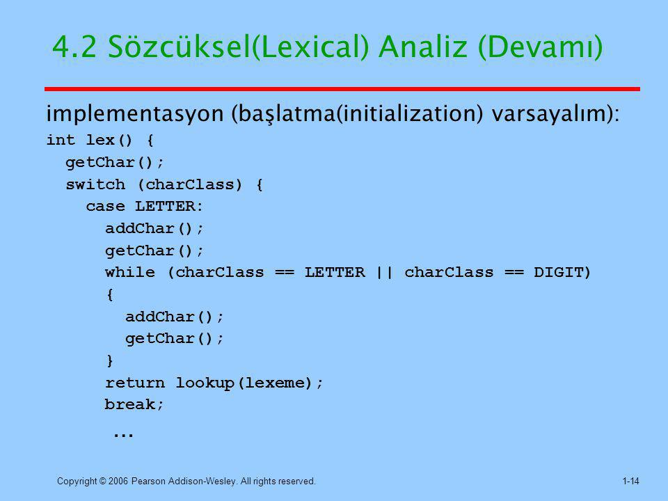Copyright © 2006 Pearson Addison-Wesley. All rights reserved.1-14 4.2 Sözcüksel(Lexical) Analiz (Devamı) implementasyon (başlatma(initialization) vars