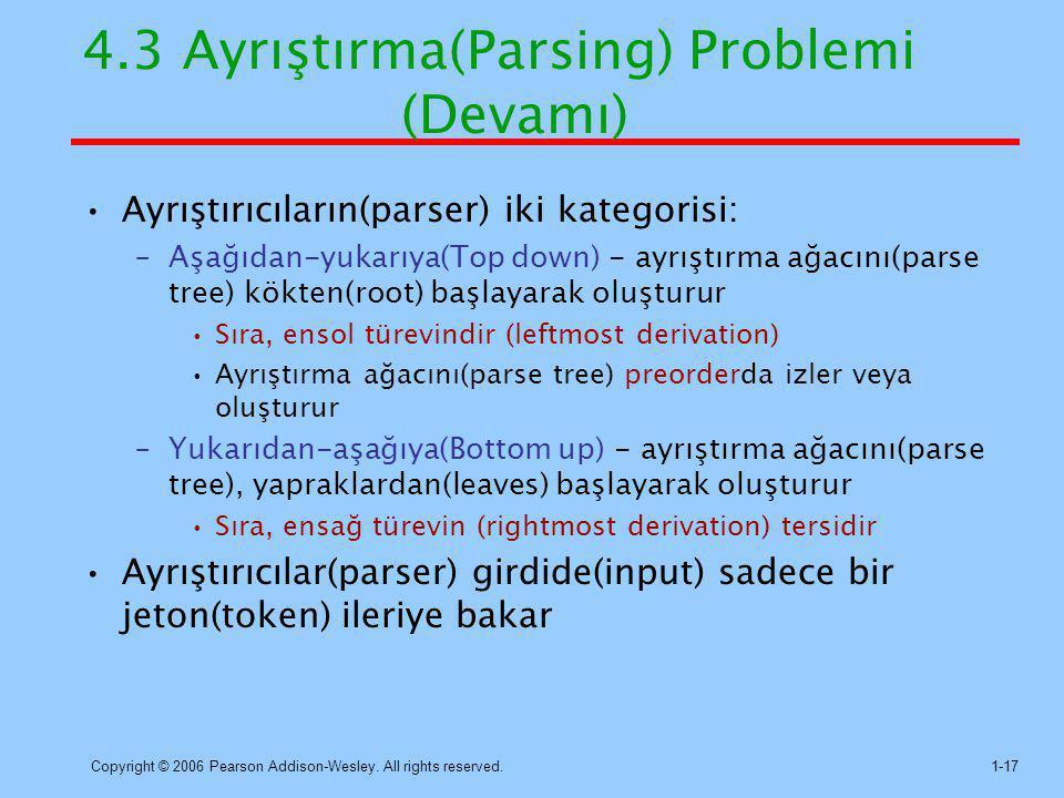 Copyright © 2006 Pearson Addison-Wesley. All rights reserved.1-17 4.3 Ayrıştırma(Parsing) Problemi (Devamı) Ayrıştırıcıların(parser) iki kategorisi: –