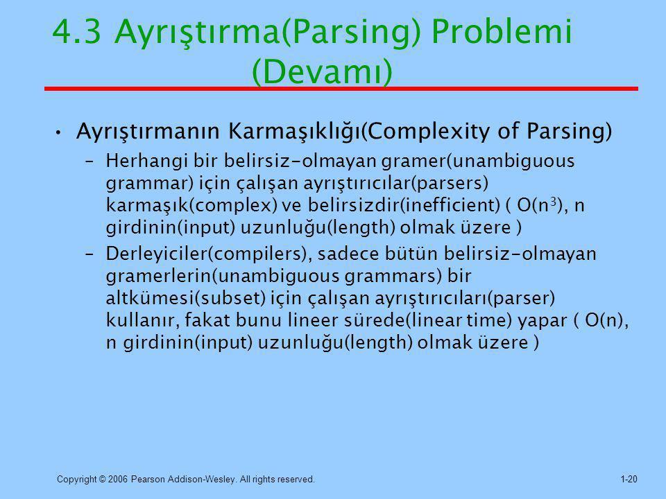 Copyright © 2006 Pearson Addison-Wesley. All rights reserved.1-20 4.3 Ayrıştırma(Parsing) Problemi (Devamı) Ayrıştırmanın Karmaşıklığı(Complexity of P