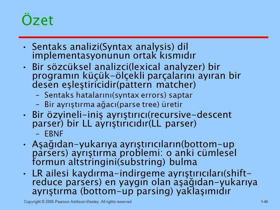 Copyright © 2006 Pearson Addison-Wesley. All rights reserved.1-46 Özet Sentaks analizi(Syntax analysis) dil implementasyonunun ortak kısmıdır Bir sözc