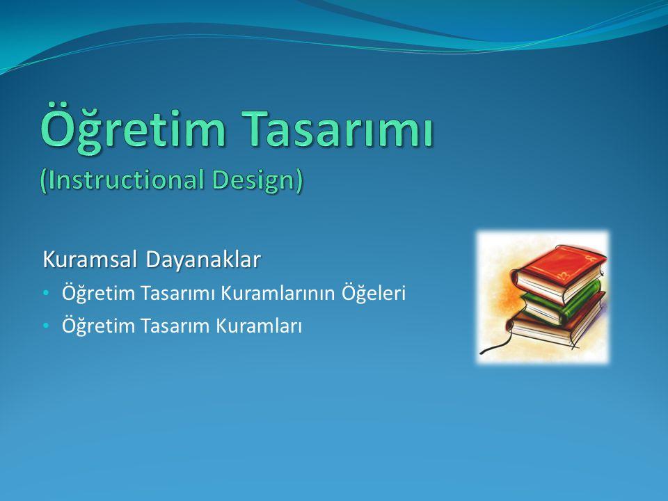 Kuramsal Dayanaklar Öğretim Tasarımı Kuramlarının Öğeleri Öğretim Tasarım Kuramları
